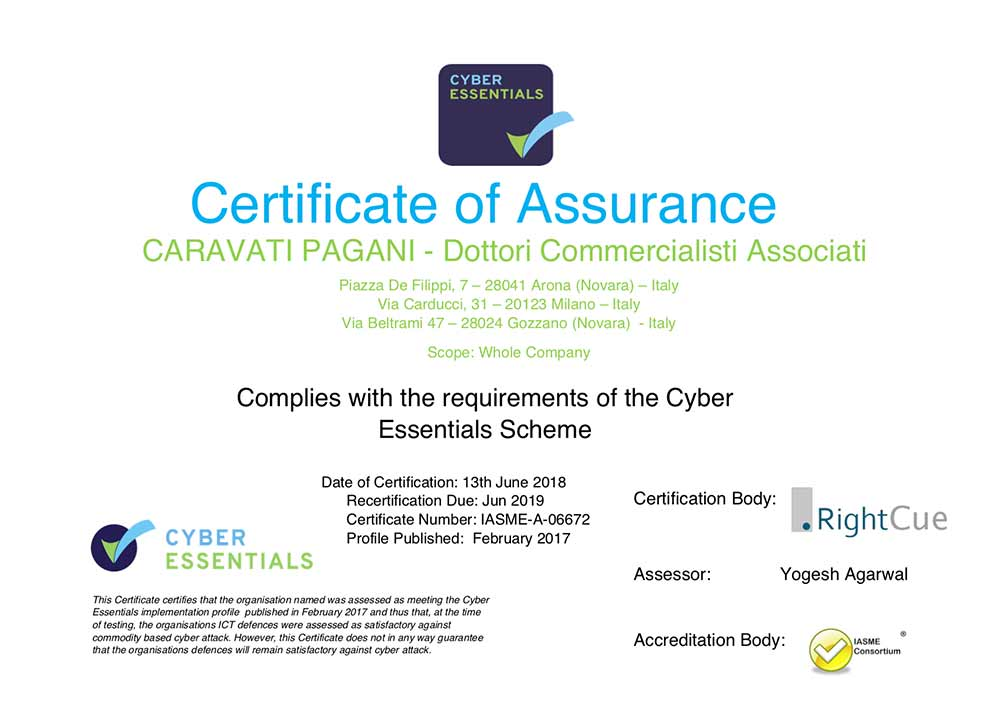 CARAVATI PAGANI HAS OBTAINED THE CYBER SECURITY ESSENTIAL CERTIFICATION FOR ITS IT INFRASTRUCTURE