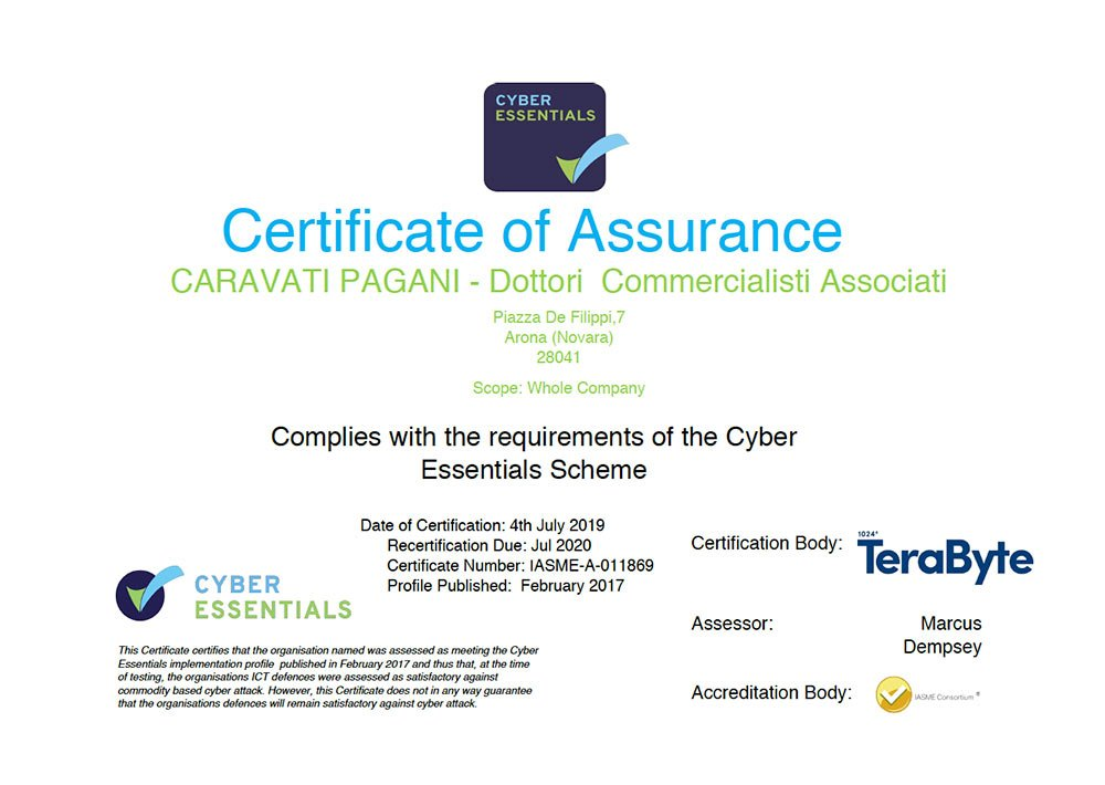 IN 2019 THE CHARTERED ACCOUNTING FIRM CARAVATI PAGANI OBTAINED THE CYBER SECURITY ESSENTIAL CERTIFICATION AGAIN